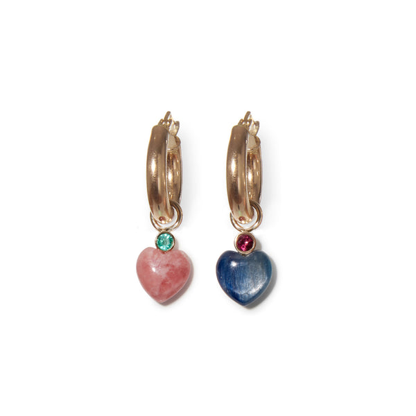 Thumbail of Kayanite Heart 14k Charms on hoops. We took our customizable Mood Hoop concept a...