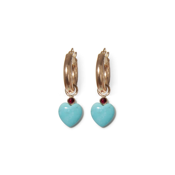 Thumbnail of Turquoise Heart 14k Charms on hoops. We took our customizable Mood Hoop concept...