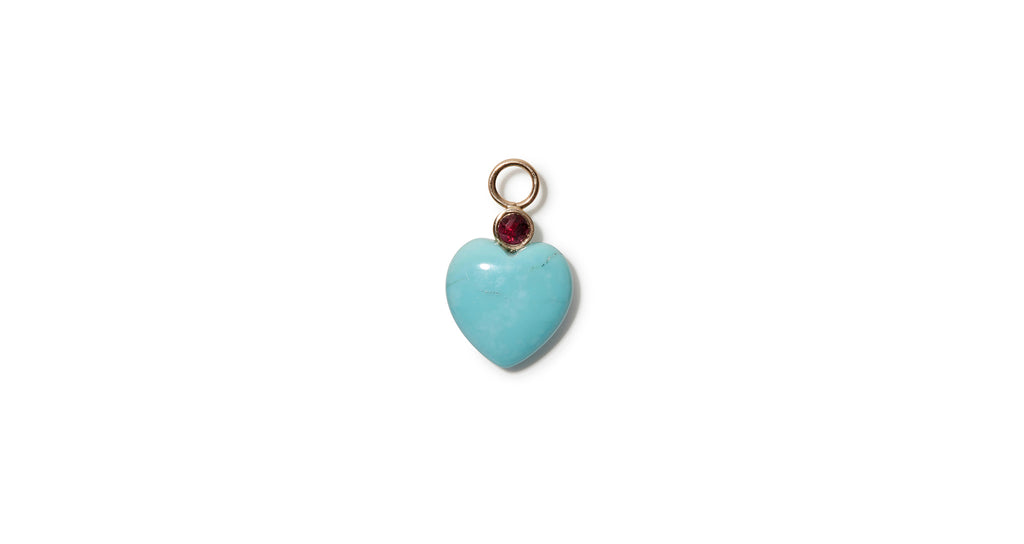Full view of Turquoise Heart 14k Charm. We took our customizable Mood Hoop concept and gave ...