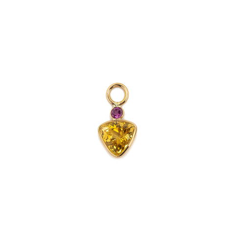 Pink Rhodolite and Citrine Trillion 14k Earring Charm