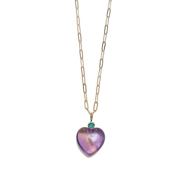 Amethyst Heart & Emerald 14k Necklace Charm on chain.