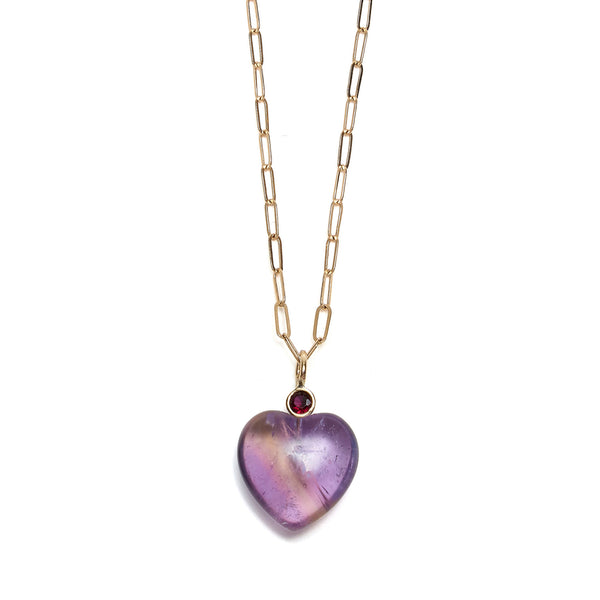 Thumbnail of Amethyst Heart 14k Necklace Charm on chain: Faceted garnet stone and amethyst heart. We re-imagined our customizable Mood Hoop concept for your neck! Adorn our yellow gold chain necklaces with pearl, colorful gem, and 14k gold charms. Mix, layer, or wear them as singles for a timelessly chic statement that's unique to you.