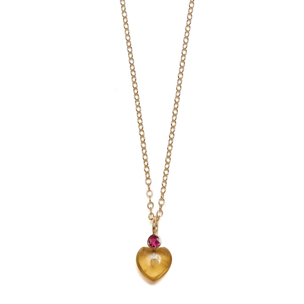 Thumbnail of Citrine Heart 14k Necklace Charm on chain: Faceted rhodolite stone and citrine heart. We re-imagined our customizable Mood Hoop concept for your neck! Adorn our yellow gold chain necklaces with pearl, colorful gem, and 14k gold charms. Mix, layer, or wear them as singles for a timelessly chic statement that's unique to you.