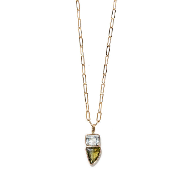 Green Amethyst & Tourmaline 14k Necklace Charm