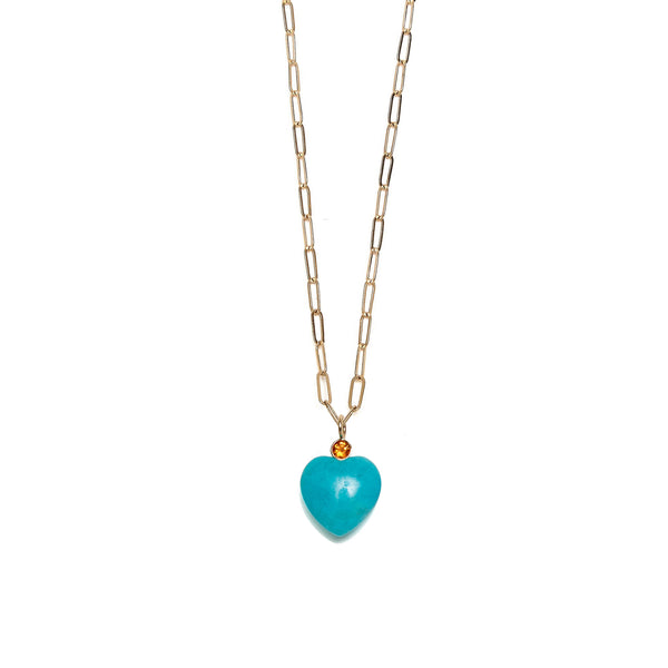 Large Amazonite & Citrine Heart 14k Necklace charm on chain.