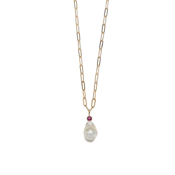 Pearl Teardrop & Rhodolite 14k Necklace Charm on chain.