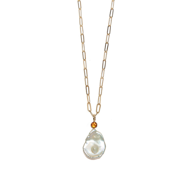 Keshi Pearl 14K Necklace Charm on chain