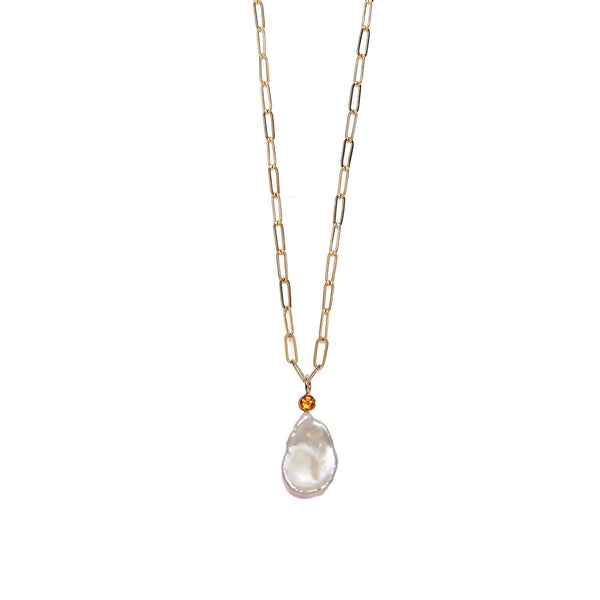 Large Keshi Pearl 14K Necklace Charm on chain