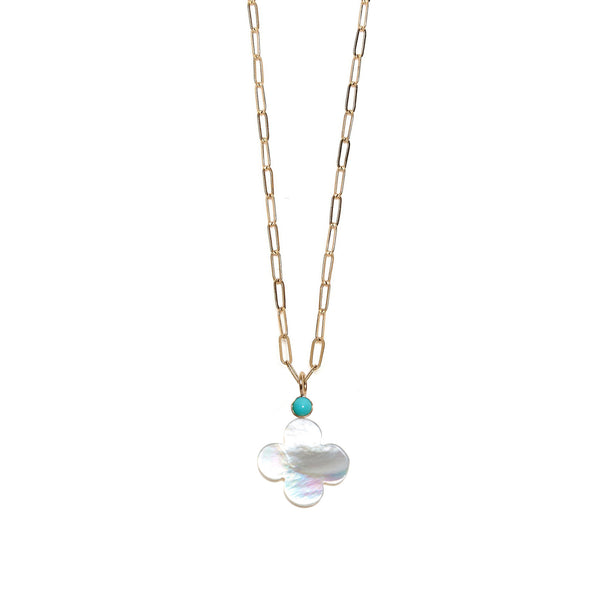 Pearl Clover & Turquoise 14k Necklace Charm on chain