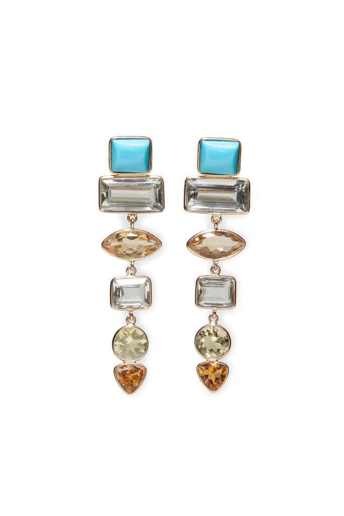 Turquoise, Green Amethyst and Citrine Earrings