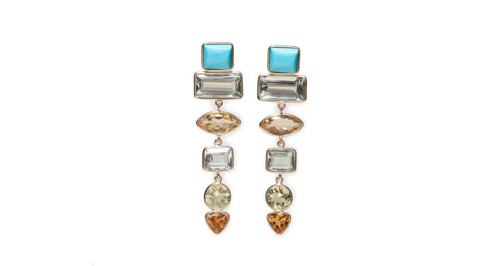 Full view of Turquoise, Green Amethyst and Citrine Earrings. We are so excited to add anothe...