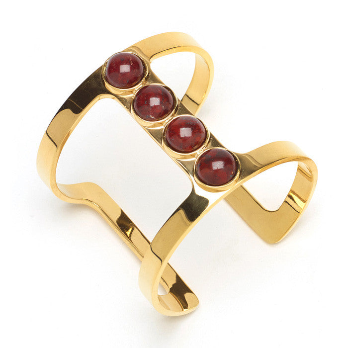 Pebble T-Bar Cuff In Red Jasper
