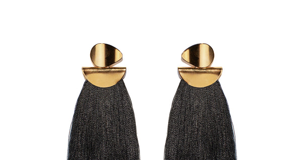 Black Crater Earrings