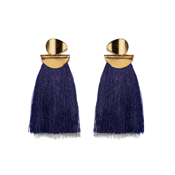 Navy Crater Earrings