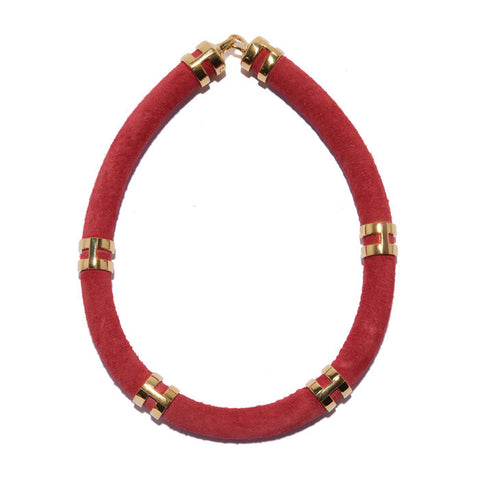 Double Take Necklace In Crimson Suede