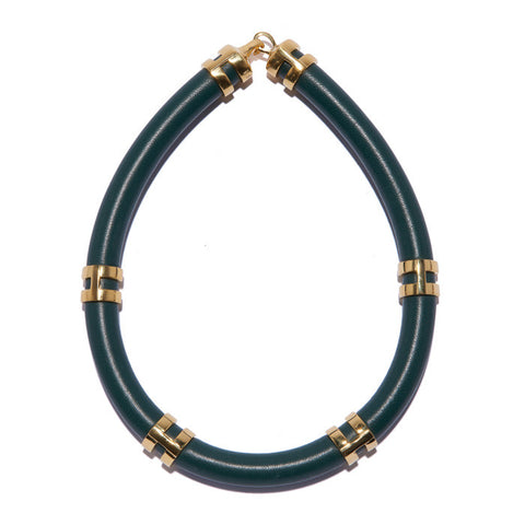 Double Take Necklace In Dark Green