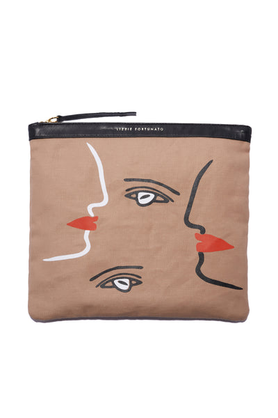 Oversized Pouch In Cubist Face