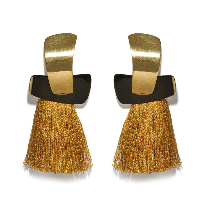 Totem Tassel Earrings In Ochre