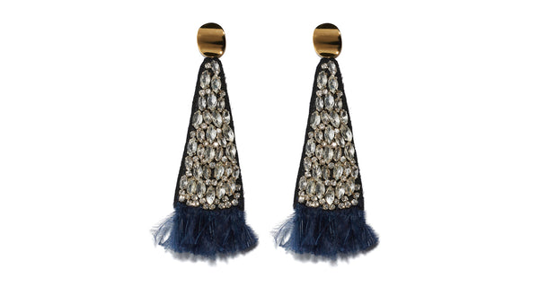 Navy Crystal Fan Earrings