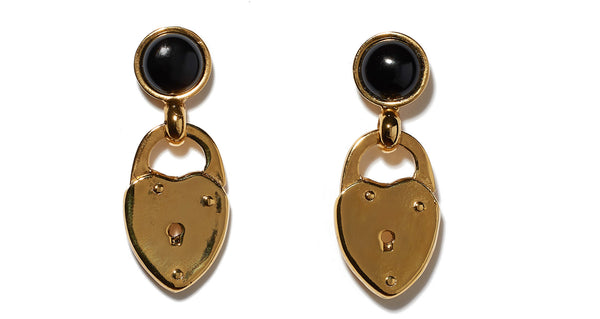 Onyx Locket Earrings