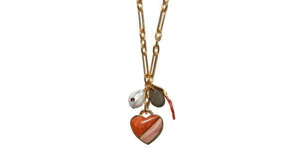 Venice Heart Necklace In Pink