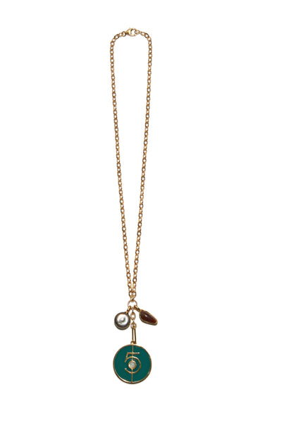"Fortune Necklace In Green ""5"""