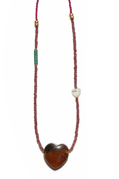 Gemini Necklace in Pomogrante