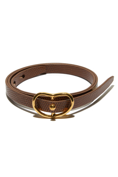 Skinny Georgia Belt In Tan Lizard