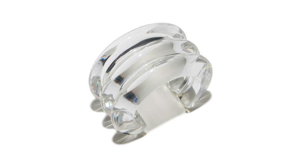Full view of Triple Ridge Cuff In Clear. Stack the style deck in your favor with our triple-...