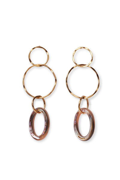 Thumbnail of The Lake City Earrings In Abalone. You'll love the way these elegant stunners catch the light when the gold vermeil linked hoops sway as you move. Choose a pair of our organic wire earrings with either hanging freshwater pearls or iridescent abalone rings.