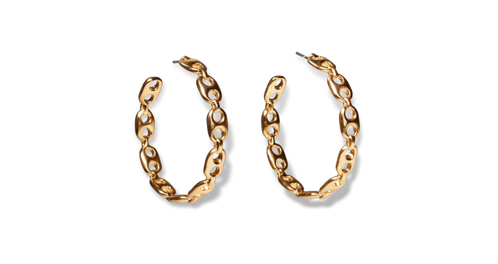 Full view of Chain Link Hoop Earrings. Love the look of chain link? We've punctuated your everyday hoop earrings with organic link shapes for an edgy and elevated take on a wardrobe classic.