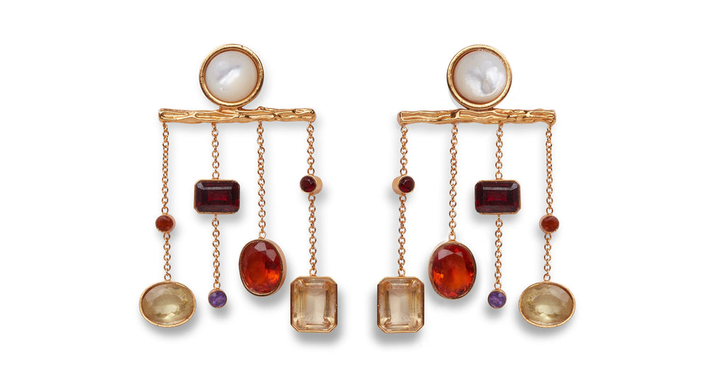 Full view of Libra Earrings. Tip the scales of style in these textured gold chandelier earri...