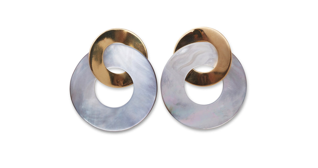 Full view of Solstice Earrings. Swirl into the new season in our hypnotic gold-plated round ...