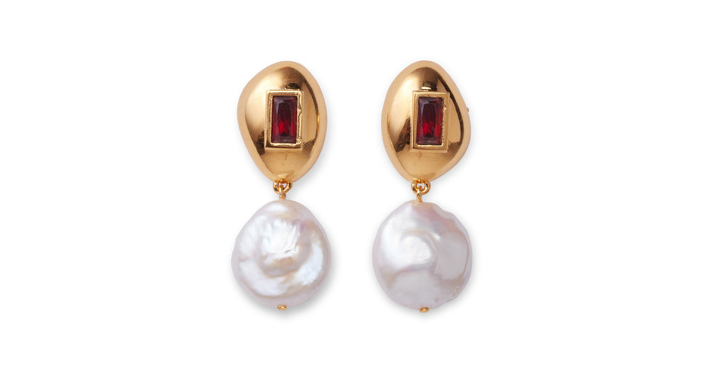 Full view of Royal Pearl Earrings. Live the fantasy and be queen of the castle in our gold-plated brass pebble earrings set with garnet baguettes and hanging freshwater pearls.