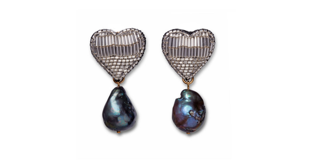 Full view of French Heart Earrings. Panic at the disco! Start a style riot at your next party in the hand-beaded silver earrings with peacock-colored freshwater pearl drops. Bonus: these are clip-ons for easy, lightweight wear.