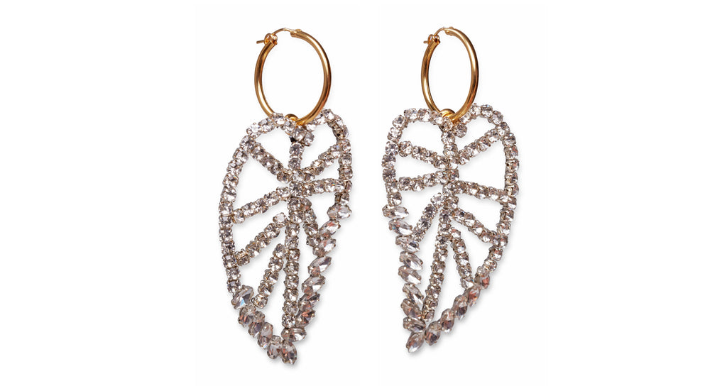 Full view of Crystal Leaf Earrings. These. Are. Major. We cannot wait to wear the gold vermeil hoop earrings with elaborate handmade crystal leaves. Classic, with a statement-making sparkly twist.