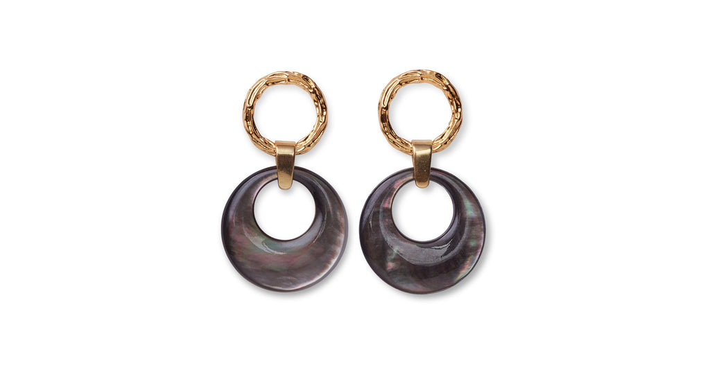 Full view of Abalone Disc Earrings. The height of understated sophistication, these textured gold-plate earrings with hanging abalone discs will take you from the boardroom to your next brunch date.