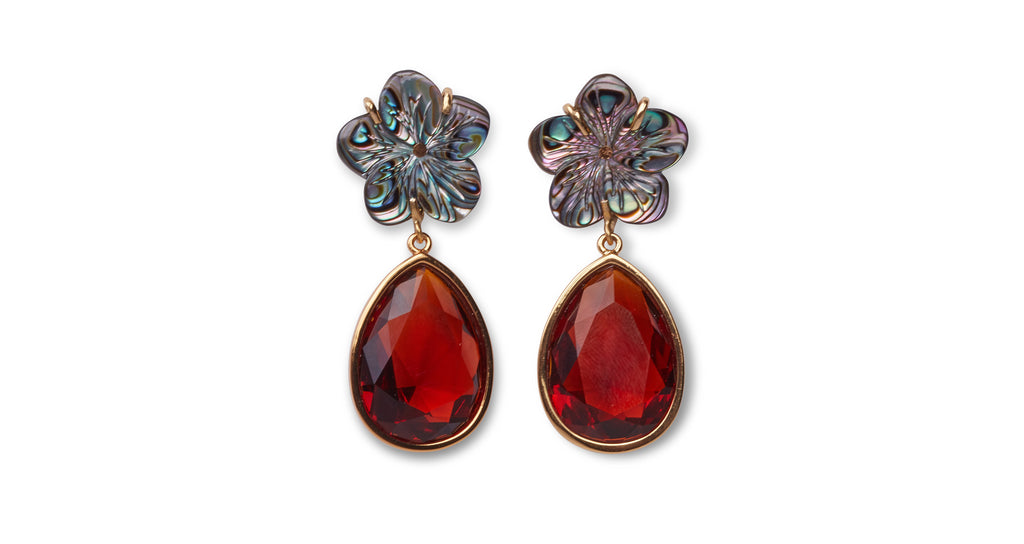 Full view of Lily Pad Earrings In Amber. The perfect accessory to punctuate any outfit, thes...