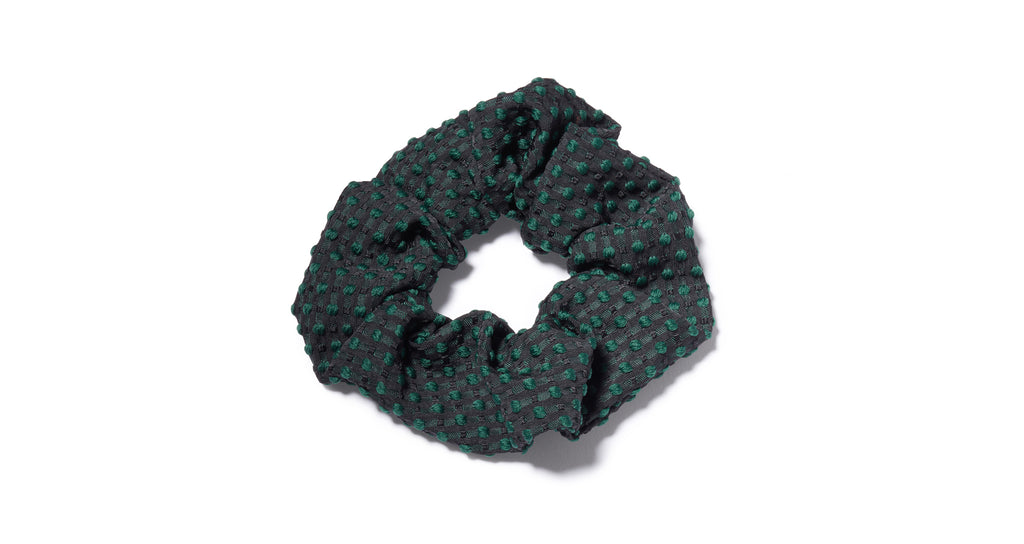 Full view of Swiss Dot Scrunchie. All hail the return of the scrunchie, everyone's favor...