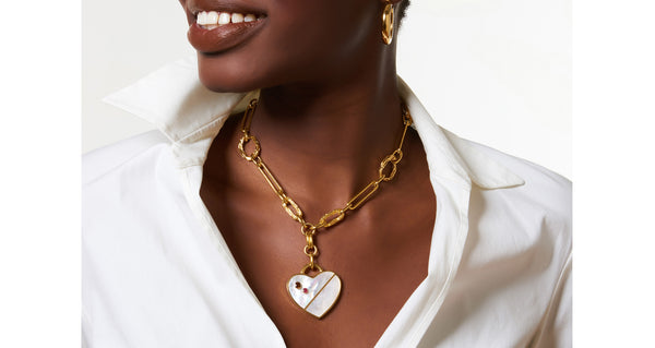 Venice Heart Necklace In Pearl
