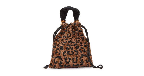 Full view of Gala Wristlet In Cheetah. Show off your animal instincts with our party-ready drawstring purse in a bold leopard-print pattern. With hand-sewn brown and black bugle beads and lush black velvet top handle.