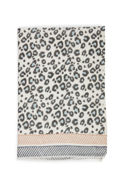 Thumbnail of The Heritage Scarf in Snow Leopard. Bundle up in our most versatile fall accessory, the long rectangular wool blend scarf with leopard print, two-tone crosshatch border print, and fringed edges. If you're shy about wearing animal prints, this will be your gateway piece.