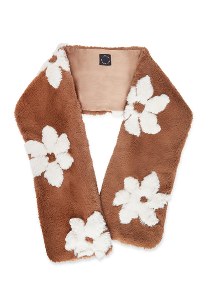 Thumbnail of The Fur Stole, in Hazel. We can't wait for the temperature to dip this fall so we can throw on one of our cozy new faux fur stoles. It's timeless chic updated with a fun floral motif -- in burgundy with hand-sewn black sequins, and light brown with hand-sewn white flowers.