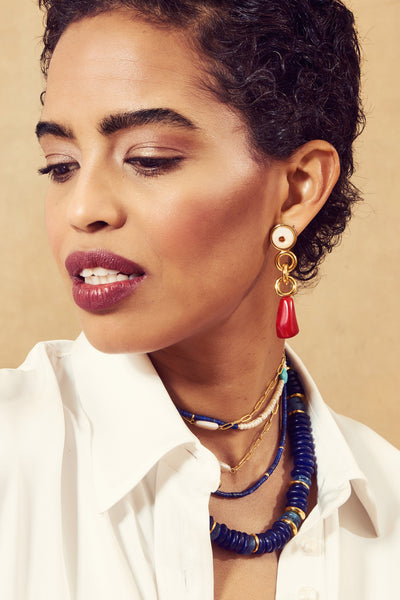 Thumbnail of model wearing the Eden Earrings. Looking for a little piece of paradise? Meet t...