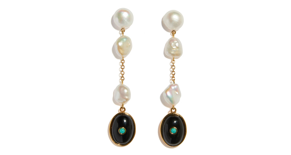 Full view of Bon Vivant Earrings In Pearl. Whether you're celebrating a big day or turni...