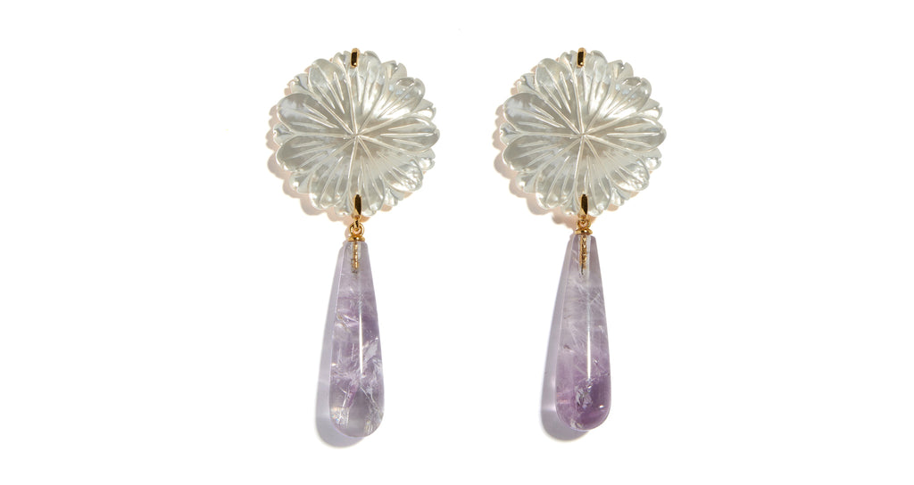 Full view of Lilac Bloom Earrings. Let your individual style blossom in these oh-so-pretty c...
