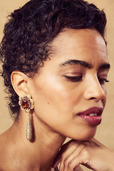 Thumbnail of model in the Boleyn Earrings in Sunrise. Yes, Queen. Behold earrings so lavish ...