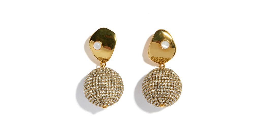 Full view of Crystal Sand Earrings. Be your own dance-floor in these center-of-attention-get...