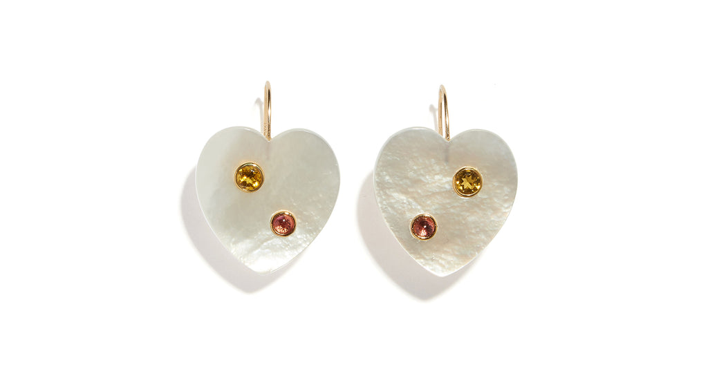 Full view of the Mi Amor Earrings. In the mood for love? These mother-of-pearl heart drop ea...