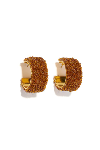Beaded Margot Hoops In Amber